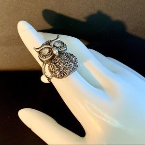 Sterling Silver & Marcasite Owl Statement Ring